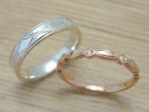 ★T夫妻さま(仙台市)素材:プラチナ900仕上:ミラーストーン:新婦ダイヤモンド