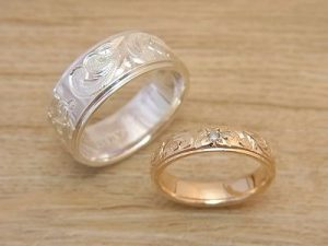 ★K夫妻さま(鶴岡市)素材:新郎SV925/新婦K18YG仕上:ミラーストーン:新婦ダイヤモンド
