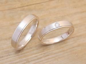 ★I夫妻さま(酒田市)素材:SV925仕上:ヘアライン&ミラーストーン:新婦ダイヤモンド