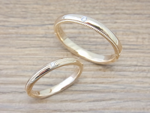 ★S夫妻さま(三川町)素材:K18YG仕上:ミラーストーン:ダイヤモンド