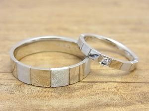 ★K夫妻さま(三川町)素材:プラチナ900仕上:ミラー&スターダストストーン:新婦ダイヤモンド
