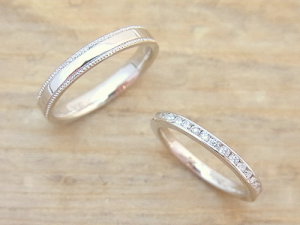 ★I夫妻さま(遊佐町)素材:プラチナ900仕上:ミラーストーン:新婦ダイヤモンド×35pcs