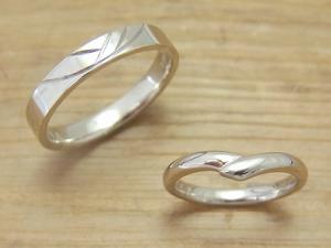 ★N夫妻さま(鶴岡市)素材:プラチナ900仕上:ミラー2016-0601-01新婦ダイヤモンド