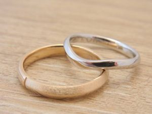 ★E夫妻さま(鶴岡市)素材:プラチナ900仕上:ミラー&クロスストーン:新婦ダイヤモンド